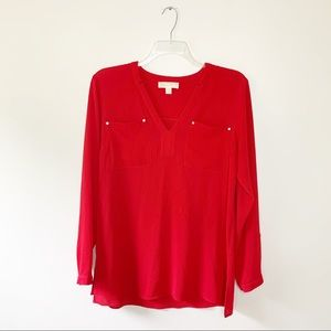 Michael Kors Red 3/4 Button Up Blouse Size Large